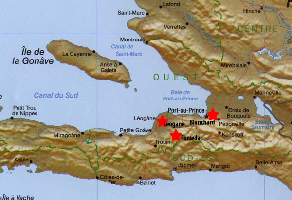 Map of FHM Locations in Haiti